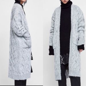Zara Grey Wool Chunky Knit Cardigan Sweater Coat